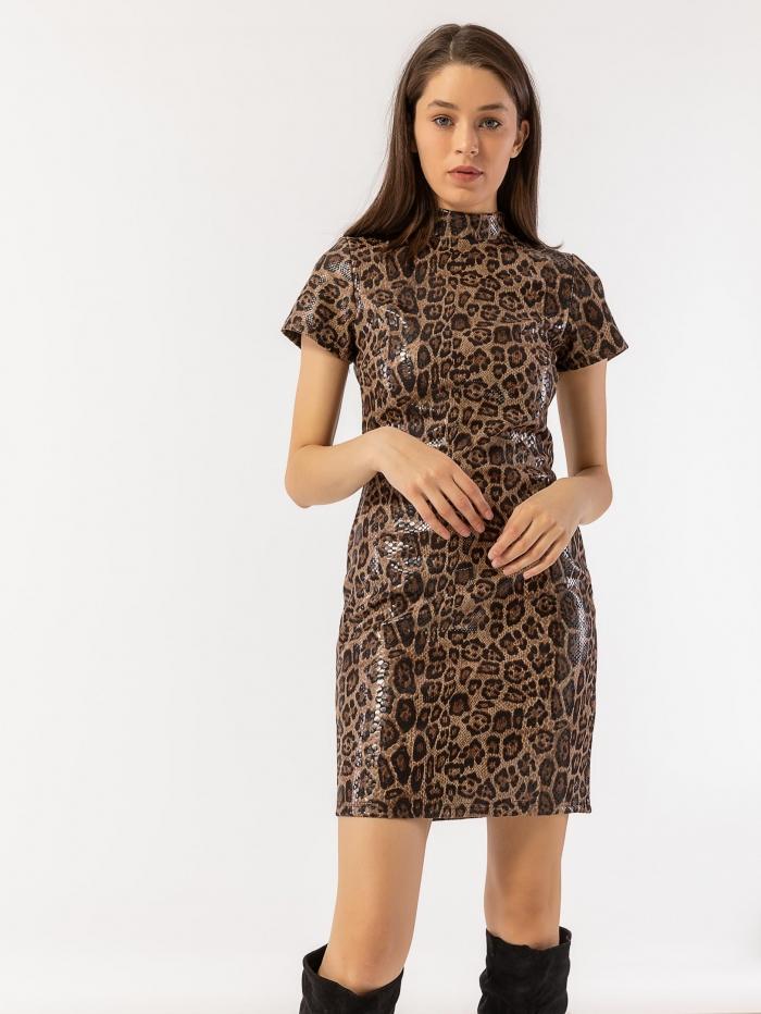 Leopard φόρεμα με υφή δέρματος