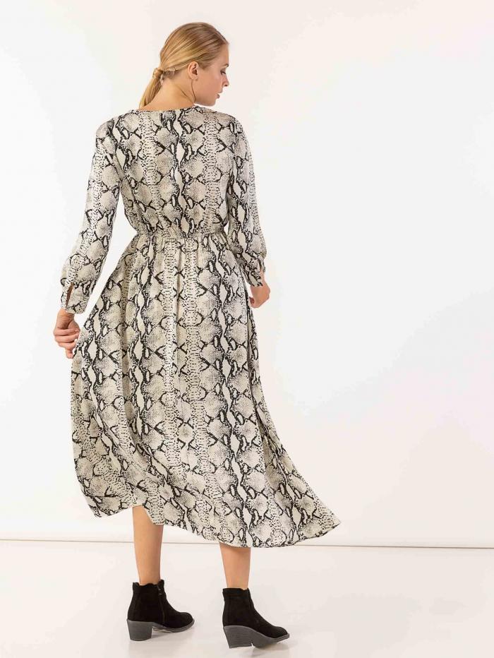 Maxi snake print φόρεμα με μακριά μανίκια και λάστιχο στη μέση