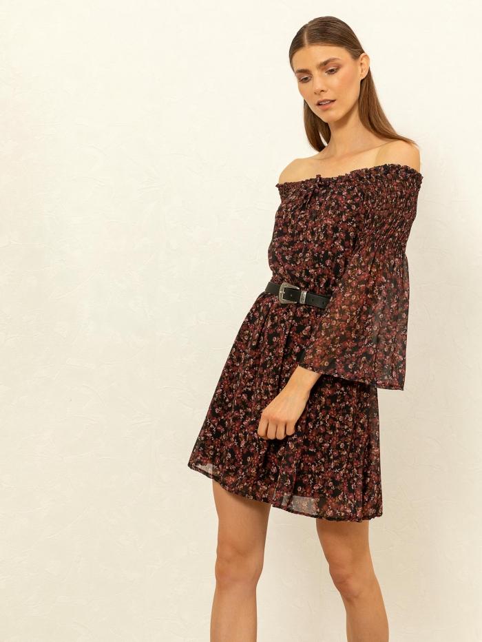 Mini φόρεμα με λάστιχο στους ώμους