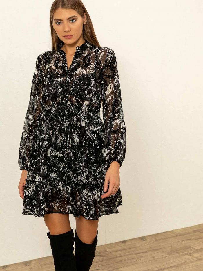 Mini φόρεμα με βελούδινες λεπτομέρειες