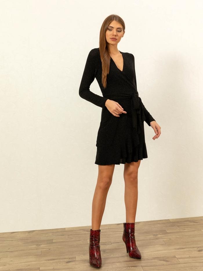 Mini μεταλλιζέ κρουαζέ φόρεμα με βολάν